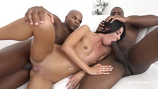 Eveline Dellai is having tons of fun with a black guy and his best friend