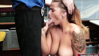 Curvy blonde thief enjoys being fucked by an horny officer