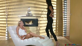 Pussy poking with fingers and a dildo makes sweet Bambi Joli cum