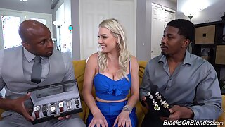 Blondie gets shared by a pair of black hunks with huge dicks