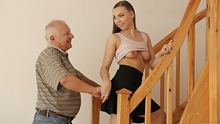 DADDY4K. Experienced guy creampies son's girlfriend