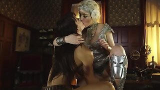 Hooker and female knight have an act of lesbian love in dormitory