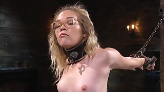 Nerdy chick is happy to try some bondage for the first time