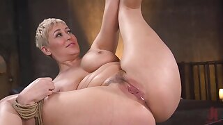 Curvaceous lady is bound naked and she is about to be fucked