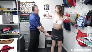 Shop lifter has to fuck her way out of this crazy situation