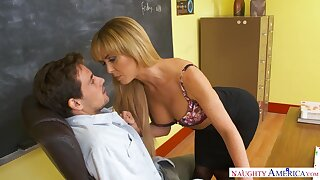 Sexy elegant teacher Cherie Deville gets her pussy nailed right on the table