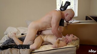 Fucked with her legs up in the air, the hard way