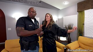 Insolent nude woman tries anal sex with a black cop