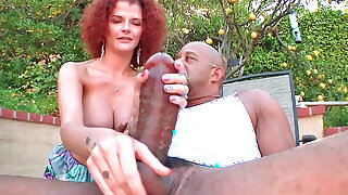 Chocolate hottie with huge tits and a monster cock