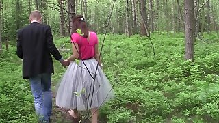 Young and horny couple will gladly fuck each other in a forest