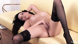 Every inch of this brunette's gorgeous body screams perfection and desire