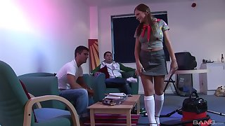 Costumed teen there pigtails cum covered around a trinity