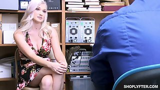 Well stacked sexy blond babe Emily Apt is fucked for shoplifting