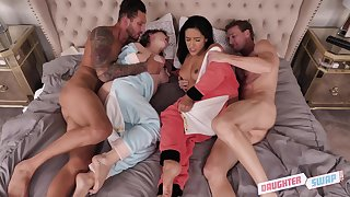 Curvy babes Cara May and Adrian Motionless fucked in a foursome