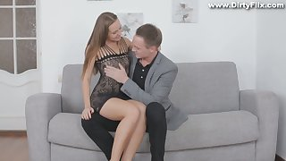 Superb student Limonika gives a blowjob and gets the brush pussy rammed for money