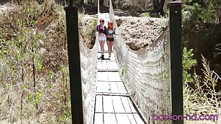 Redhead Zoey Nixon and different one in a lustful outdoor trine