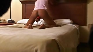Spycam on Delicious petite Ebony playing with her pussy